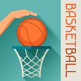 Sports illustration hand shot basketball ball Royalty Free Stock Photos