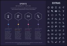 Sports infographic template, elements and icons. Sports options infographic template, elements and icons. Infograph includes line icon set with sport equipment Royalty Free Stock Images