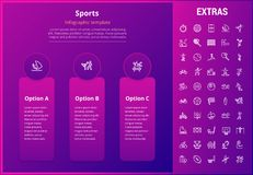 Sports infographic template, elements and icons. Sports options infographic template, elements and icons. Infograph includes line icon set with sport equipment Stock Photography