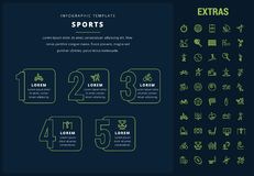 Sports infographic template, elements and icons. Sports options infographic template, elements and icons. Infograph includes line icon set with sport equipment stock illustration