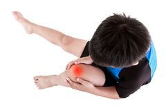 Sports injure. Asian child cyclist injured at knee. Isolated on Royalty Free Stock Image