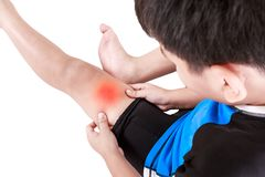 Sports injure. Asian child cyclist injured at thigh. Isolated on. Sports injure. Top view of asian child cyclist injured at thigh. Boy sitting and looking at Stock Photography