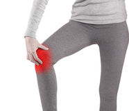 Sports injury - woman having pain in his knee making massage. Stock Photography