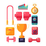 Sports Inventory Items Set. Flat Colorful Vector Illustration With Fitness Inventory. Training Equipment Vector Set OF  Objects Stock Images