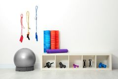 Sports inventory in   gym. Sports inventory in physiotherapy gym Stock Image