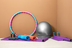 Sports inventory in gym. Sports inventory in physiotherapy gym stock photos