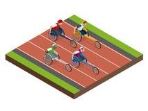 Sports isométriques pour des peuples avec l'activité handicapée Sportifs handicapés de compétitions sportives Illustration de vec illustration stock
