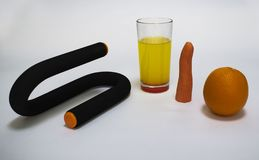 Sports item for spin lying lemonade carrot orange royalty free stock photography