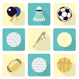 Sports Items Icon Sets, Flat Design Royalty Free Stock Image
