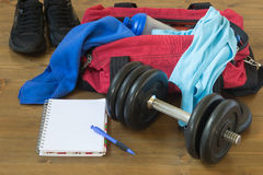 Sports items out of the bag. Things in bags for men Sports Royalty Free Stock Image