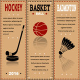 Sports items on paper. Set of Vintage Sport separate Labels. Royalty Free Stock Image