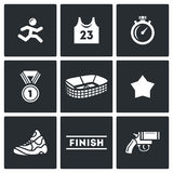 Sports jogging, discipline icons set. Vector Illustration. Royalty Free Stock Photos