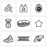 Sports jogging, discipline icons set. Vector Illustration. Stock Photo