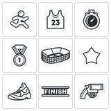 Sports jogging, discipline icons set. Vector Illustration. Stock Photo