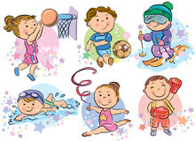 Sports kids. Contains transparent objects. EPS10 Stock Image