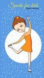 Sports for kids. Figure skating. Figure skating. Girl dancing on skates in the orange dress Stock Images