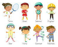 Sports kids. Illustration of various sports kids on a white background Royalty Free Stock Image