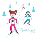 Sports for kids. Skiers. stock illustration