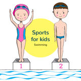 Sports for kids. Swimming. Boy and girl in swimsuit near the pool Stock Photography
