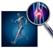 Sports Knee Injury. With a running athlete showing the anatomical skeleton with a red highlight on the knee magnified with a magnifying glass as a symbol of Royalty Free Stock Photos