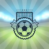 Sports label with soccer symbols Stock Images