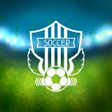 Sports label with soccer symbols Stock Photography