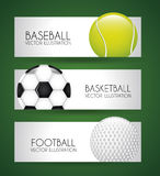 Sports labels. Over green background vector illustration Stock Photos