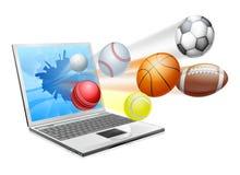 Sports laptop app concept royalty free illustration