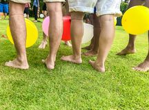 Sports on the lawn Balloon pedal game,Copy space royalty free stock images
