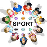 Sports Letters Balls Graphic Concept. Children Having Sports Enjoyment Happiness Royalty Free Stock Photography