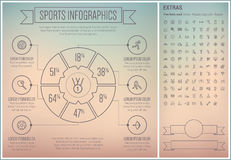 Sports Line Design Infographic Template Royalty Free Stock Images