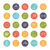 Sports Line Round Color Icons Collection. Set of 25 sports related line icons in colored circles Royalty Free Stock Photography