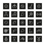 Sports Line Square Black Icons Collection Royalty Free Stock Image