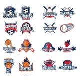Sports logo set. Football, basketball, baseball, american football logos Royalty Free Stock Photo