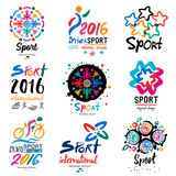 Sports logo. Sports organization symbols and signs. The competition logotype. Illustration handmade paints and inks Royalty Free Stock Photos