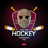 Sports logos for hockey. The logos on the theme of sport. Posters, stickers, emblems, logos for hockey. Different frames, objects sports design. Vector hockey Royalty Free Stock Photos