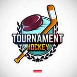 Sports logos for hockey. The logos on the theme of sport. Posters, stickers, emblems, logos for hockey. Different frames, objects sports design. Vector hockey Stock Image