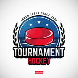 Sports logos for hockey. The logos on the theme of sport. Posters, stickers, emblems, logos for hockey. Different frames, objects sports design. Vector hockey Royalty Free Stock Photo