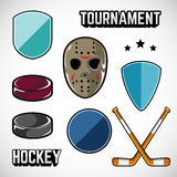 Sports logos for hockey. The logos on the theme of sport. Posters, stickers, emblems, logos for hockey. Different frames, objects sports design. Vector hockey Royalty Free Stock Image