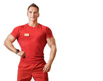 Sports male fitness trainer. On an isolated background Stock Image