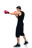 Sports man boxing in red gloves Stock Photography
