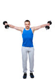 Sports man doing exercises with dumbbells Stock Photos