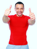 Sports man doing physical exercise for stretching Royalty Free Stock Photo