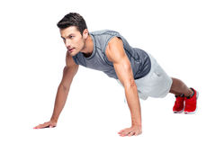 Sports man doing push ups Stock Images