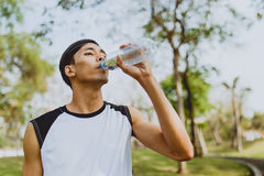 Sports man drinking water after exercising on background of green trees.  Stock Photography