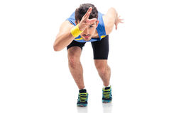 Sports man getting ready to run Royalty Free Stock Images
