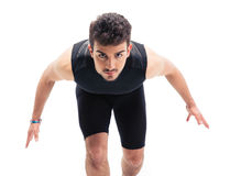 Sports man getting ready to run Royalty Free Stock Photography