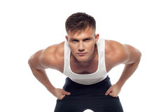 Sports man leaned forward Royalty Free Stock Images