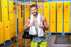 Sports man in the locker room Royalty Free Stock Photography