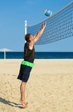 Sports man plays in volleyball Stock Photo